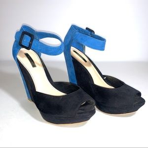 Forever 21 wedges in black and blue